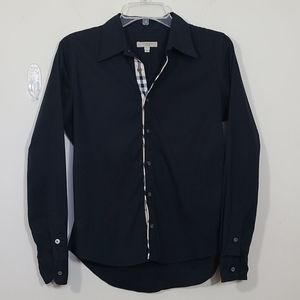 Burberry London  Button Down Black Shirt Size S